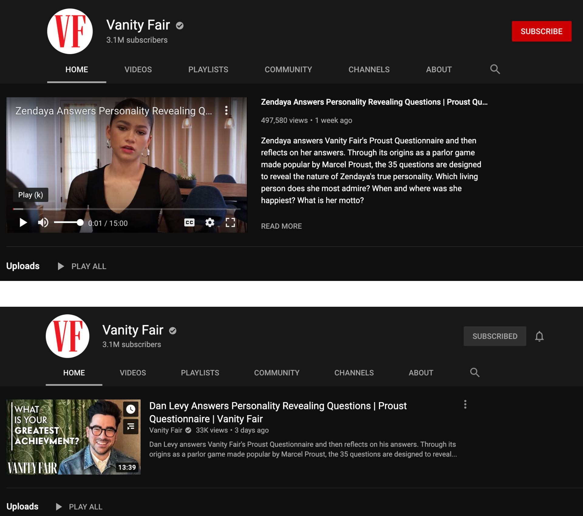Screenshots of the Vanity Fair YouTube channel, one as a non-subscriber and one as a subscriber.