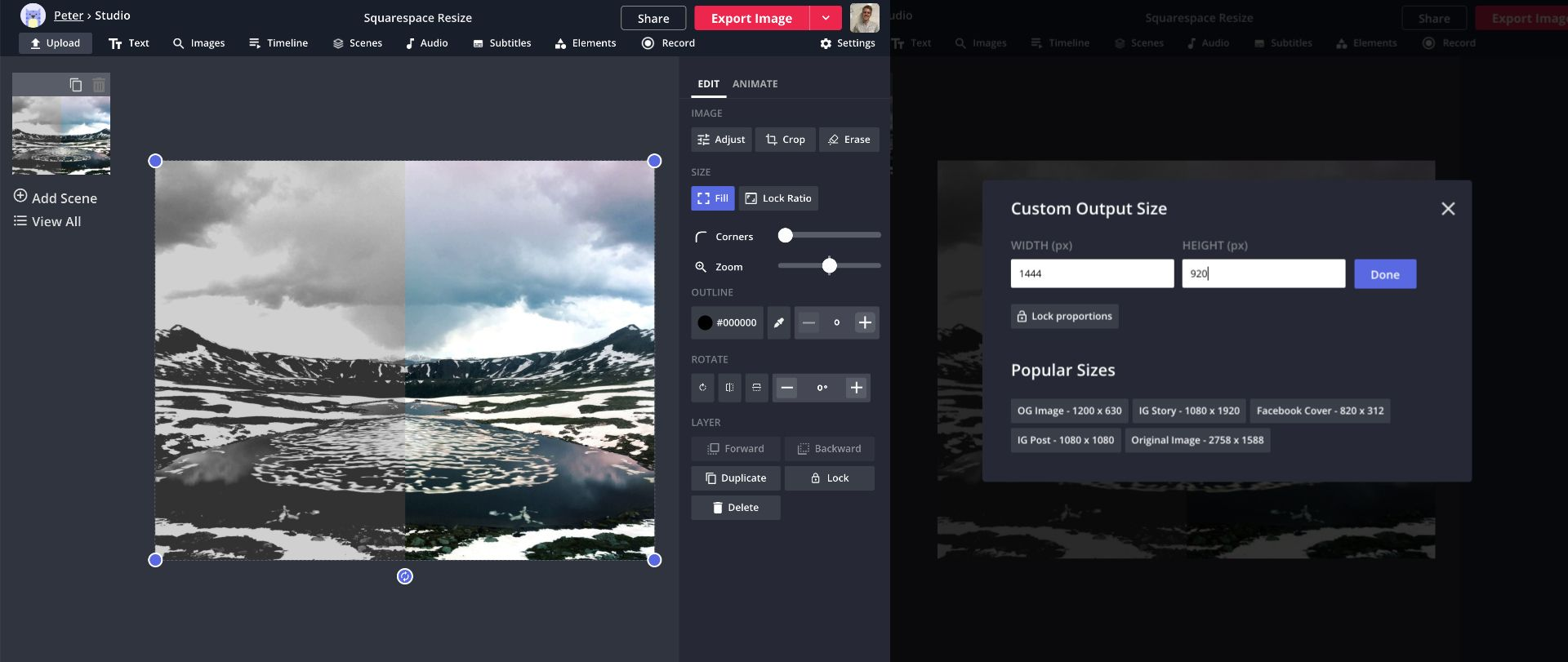 Screenshots from the Kapwing Studio, showing how to resize images to any aspect ratio.