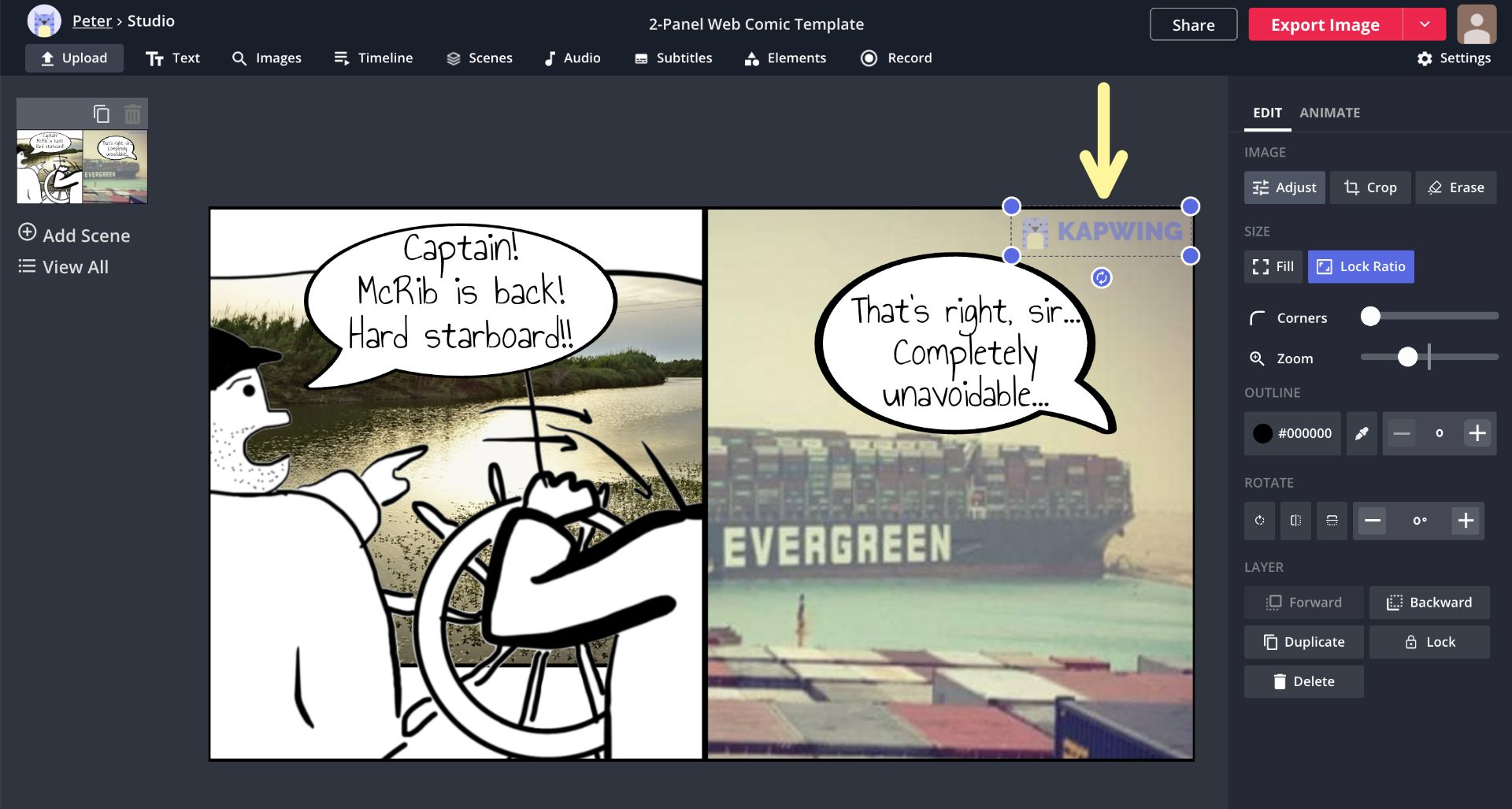 A screenshot showing how to add a watermark or signature to a comic strip in the Kapwing Studio.