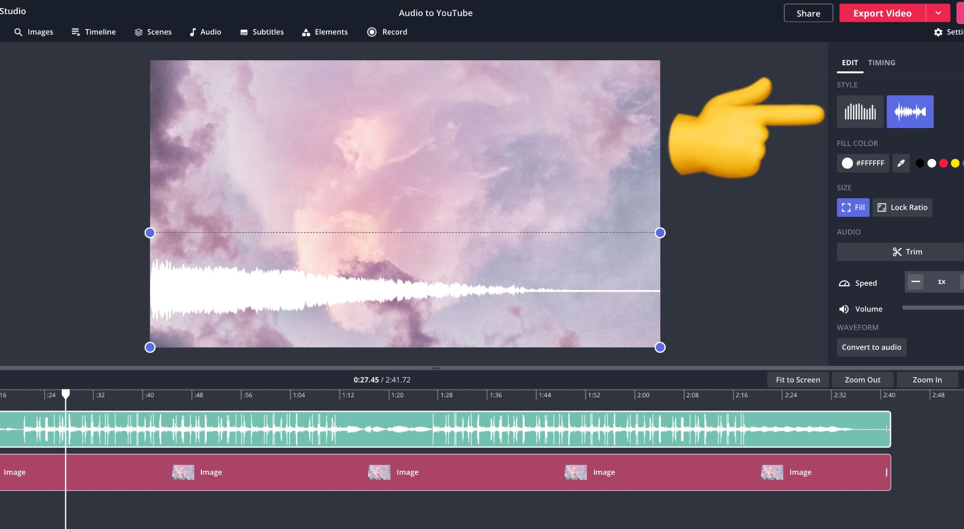 screenshot of how to change waveform style