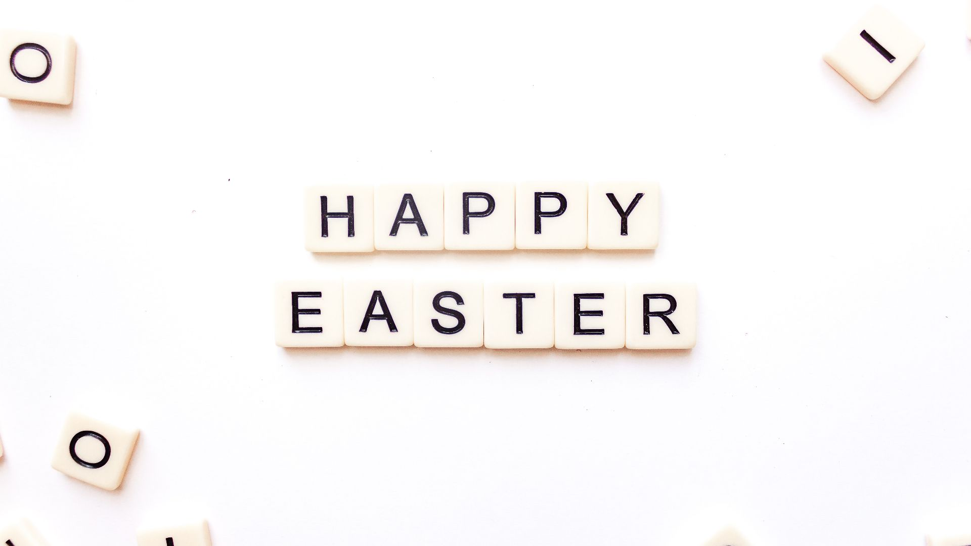 scrabble letters spelling out Happy Easter