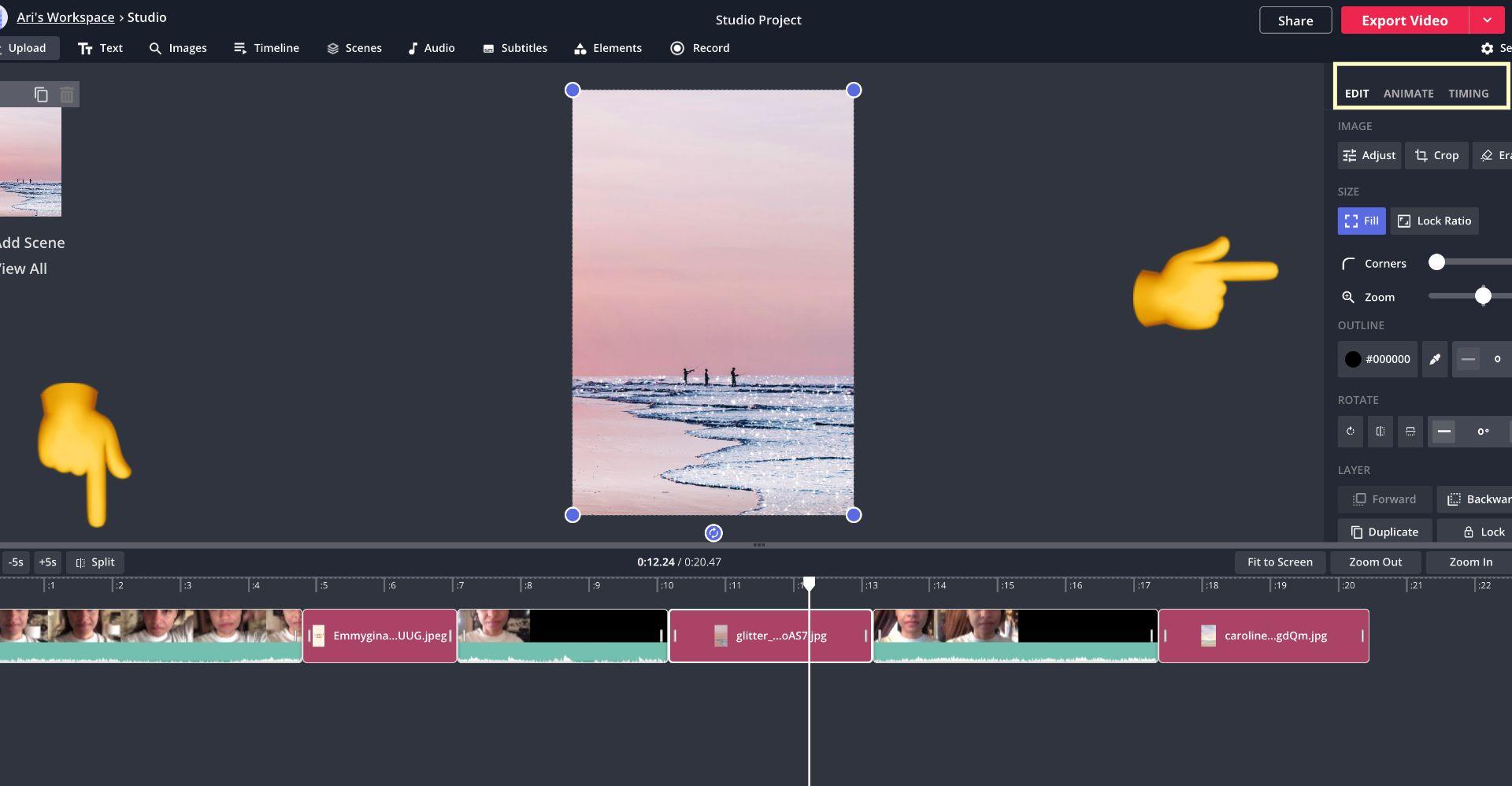 screenshot of Kapwing Studio with emoji arrows pointing to the split tool