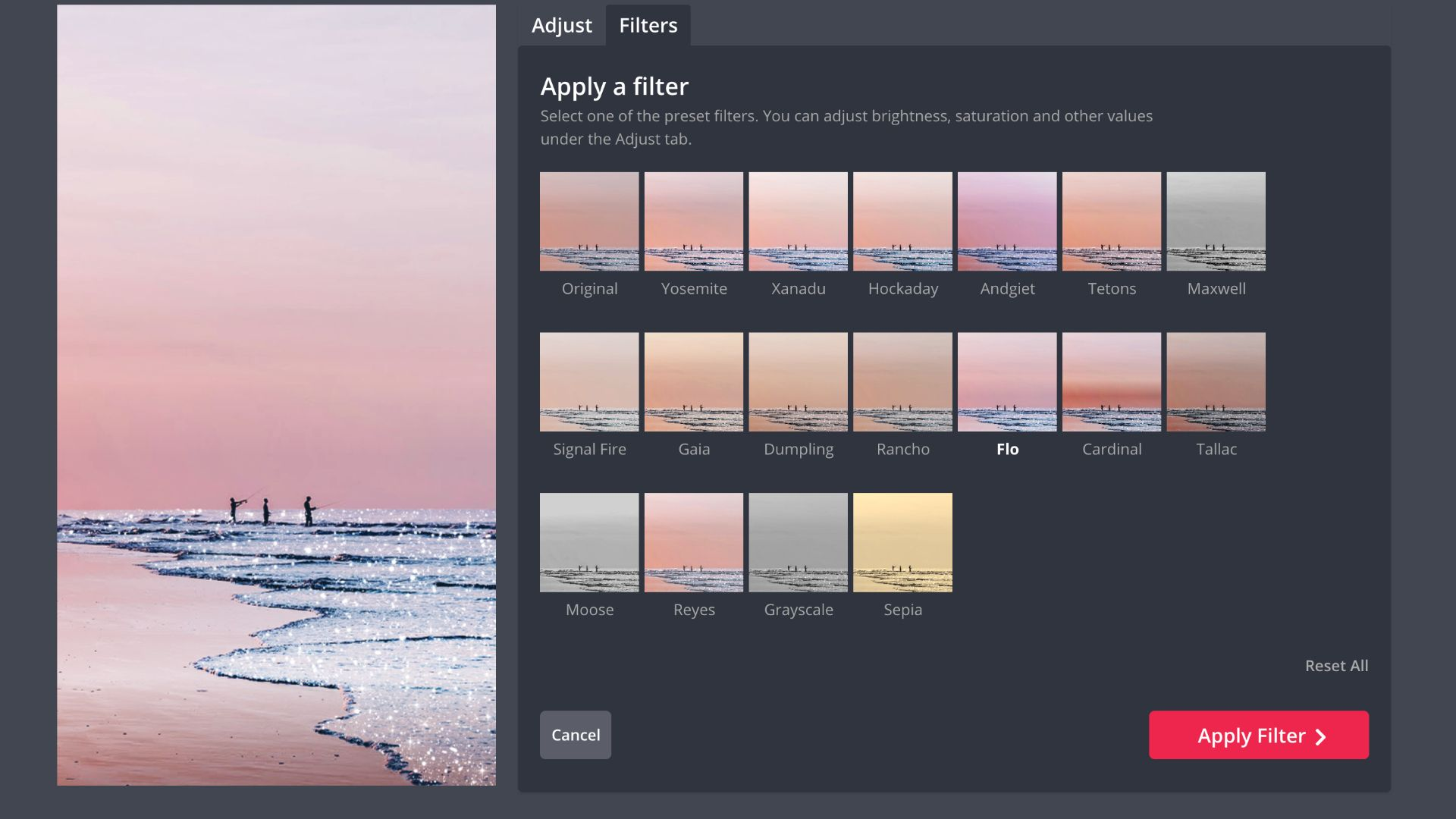 screenshot showing the filters collection in Kapwing Studio