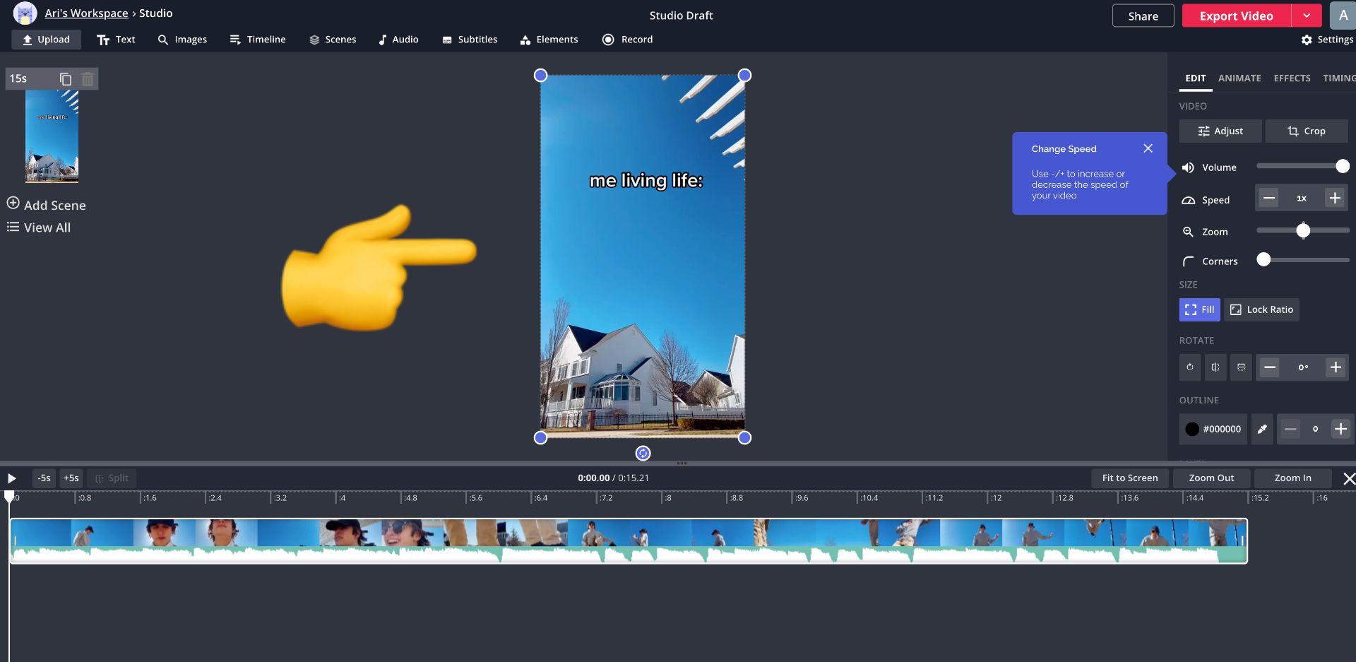 screenshot of Kapwing studio and an emoji pointing to a TikTok video