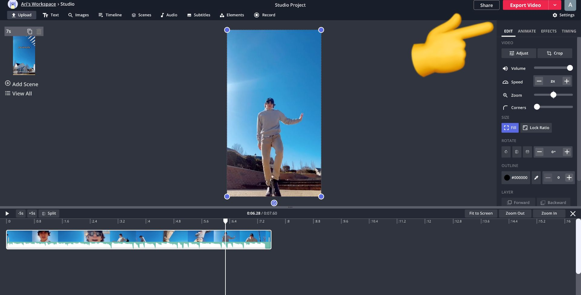 screenshot of Kapwing studio with an emoji pointing to export video