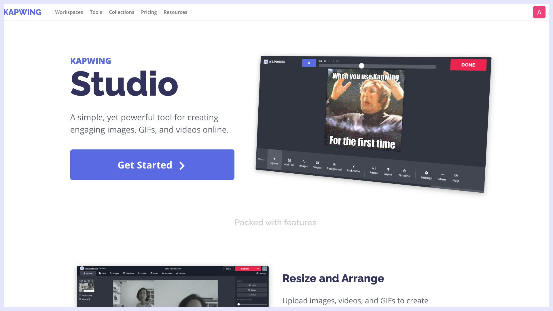 a screenshot of kapwing studio