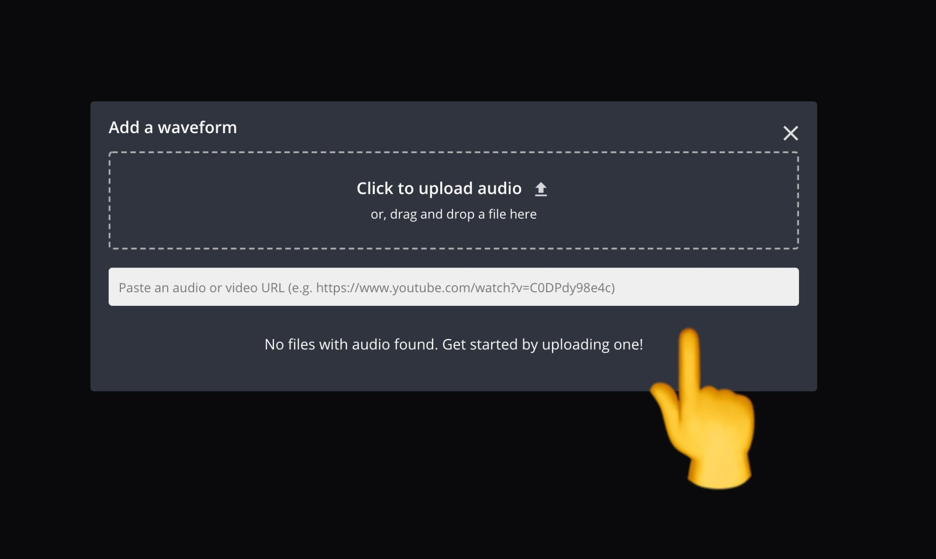 screenshot of where to upload or paste a link to an audio file