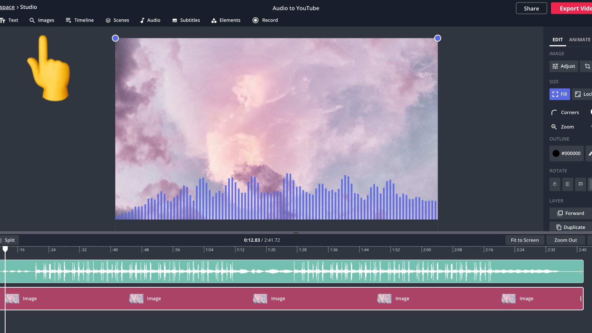 screenshot of a video with waveform in Kapwing Studio