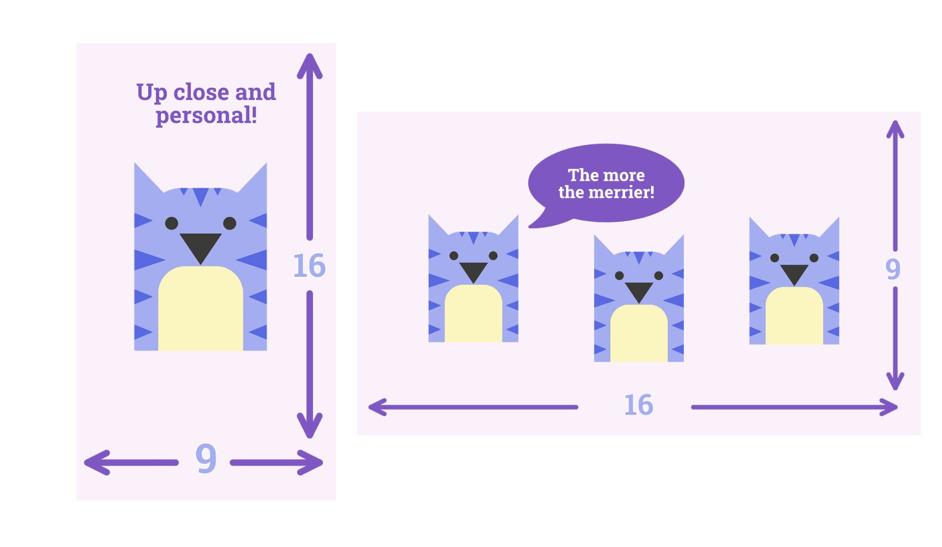 Purple Kapwing cat showing 9:16 dimensions for vertical video and 16:9 dimensions for horizontal videos