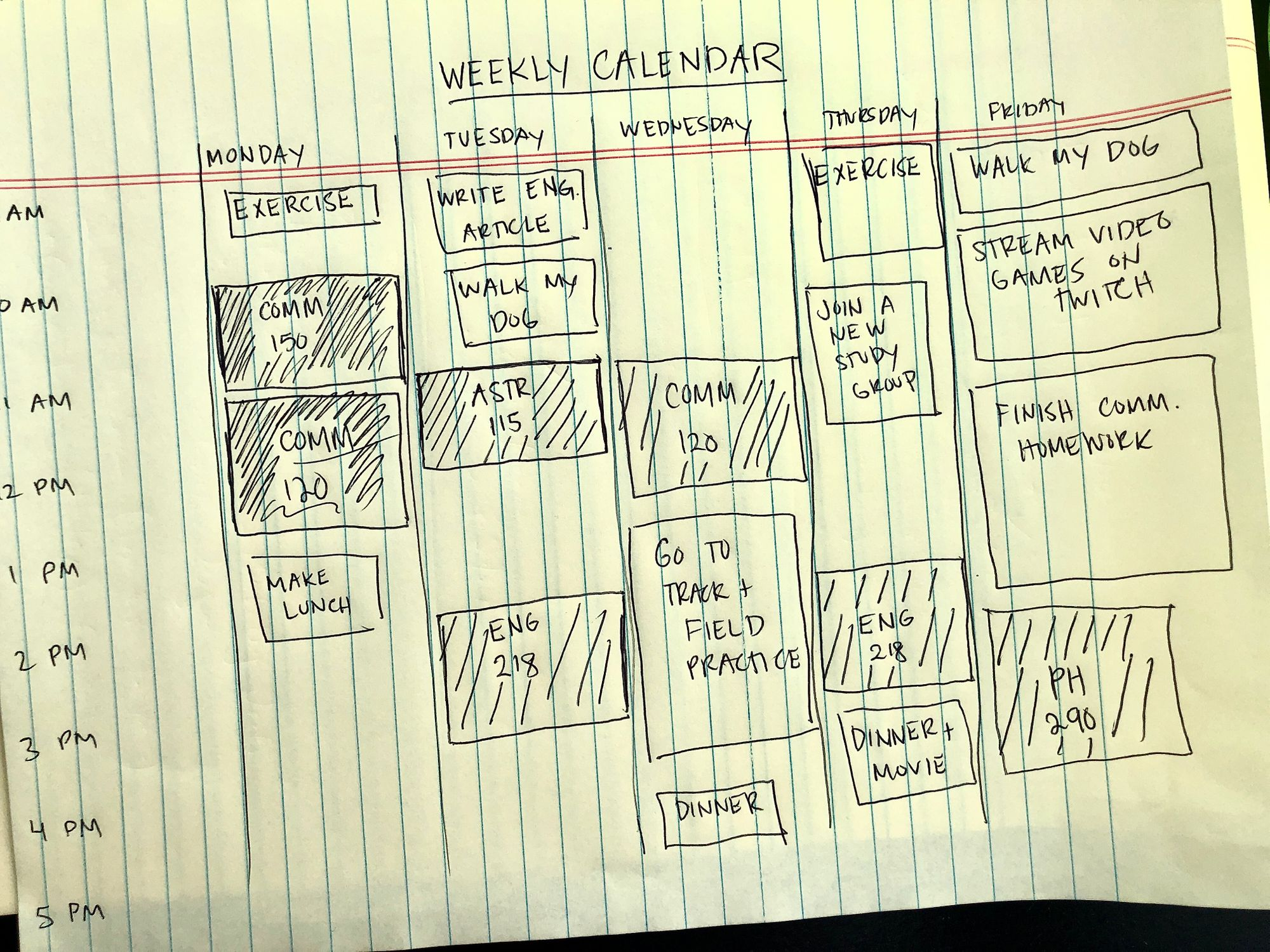 Lined paper showing a sketch of a weekly calendar with columns and squares