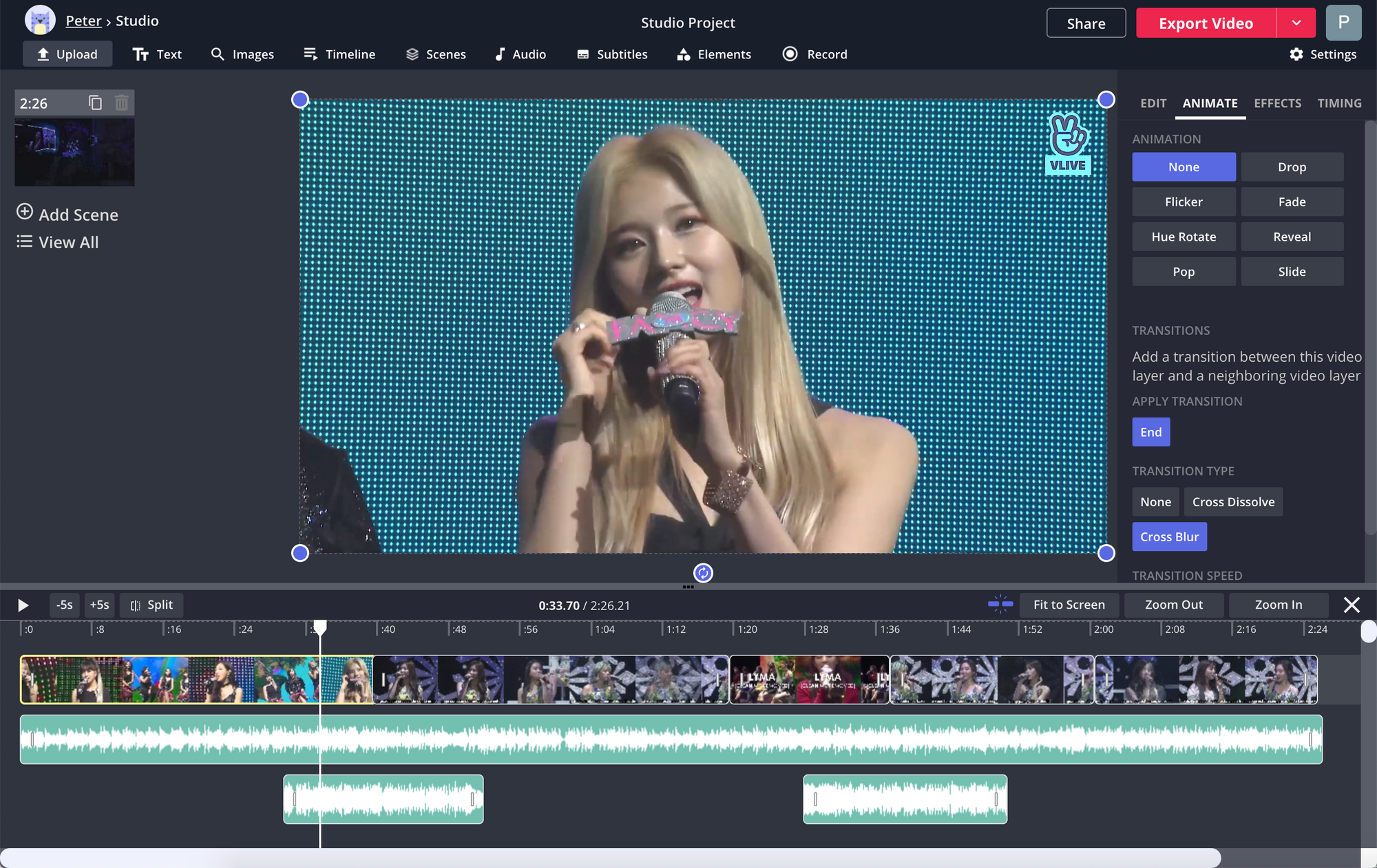 A screenshot of a mashup video being edited in the Kapwing Studio timeline.