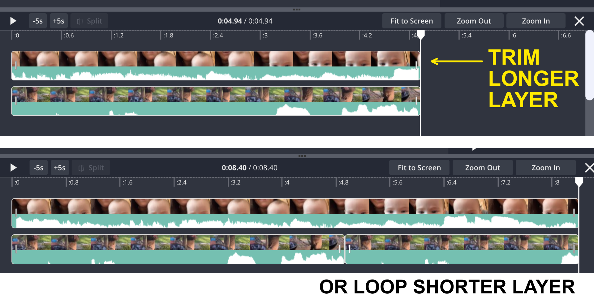 Side by side videos in timeline