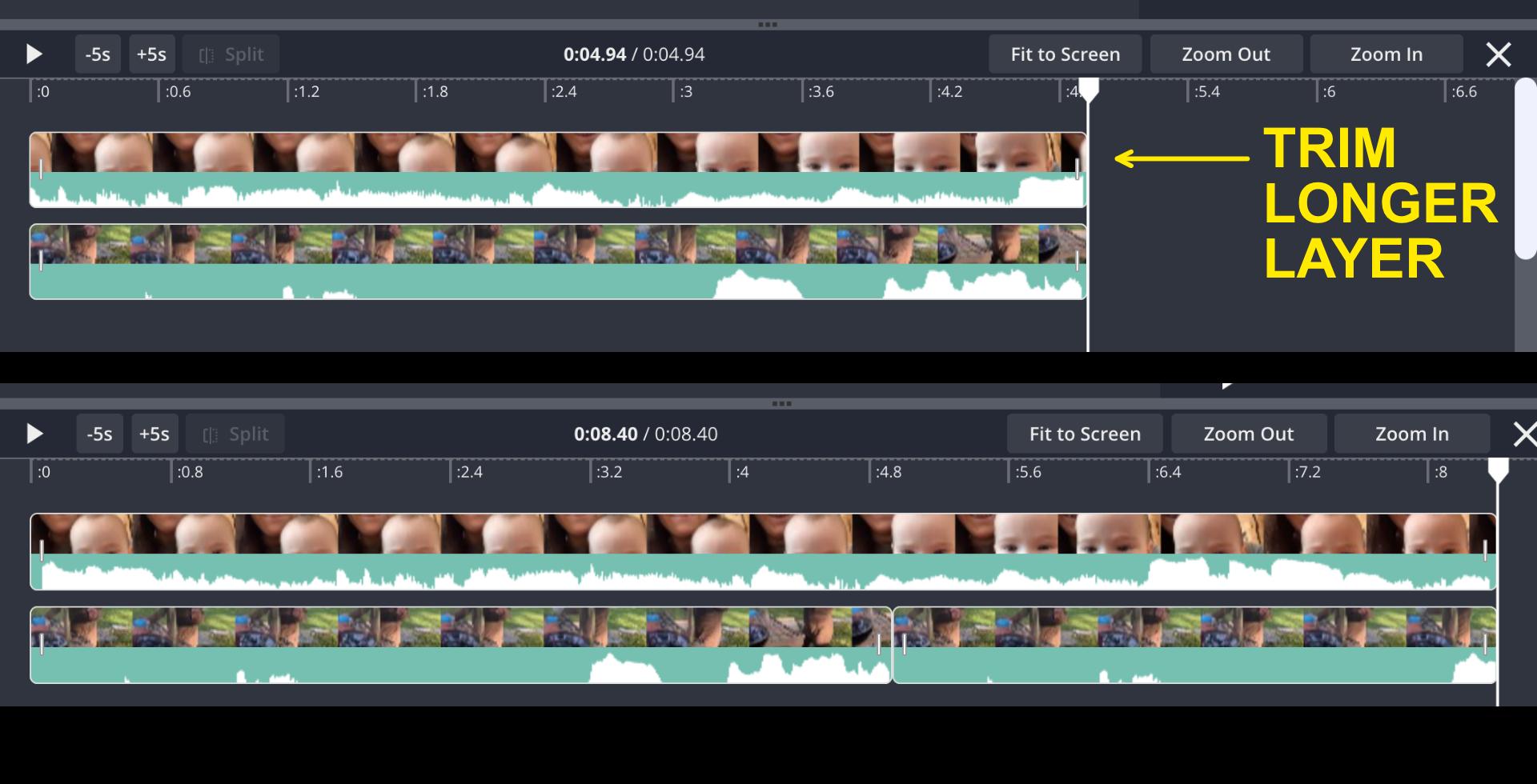 Side by side videos in timeline
