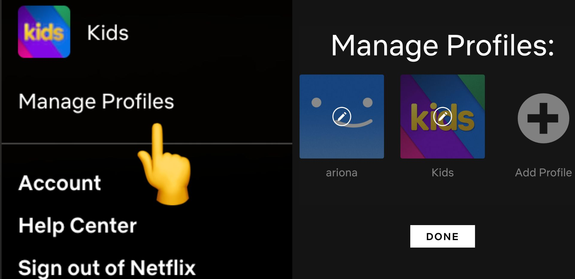 screenshot of Netflix screen with an arrow pointing to manage profiles
