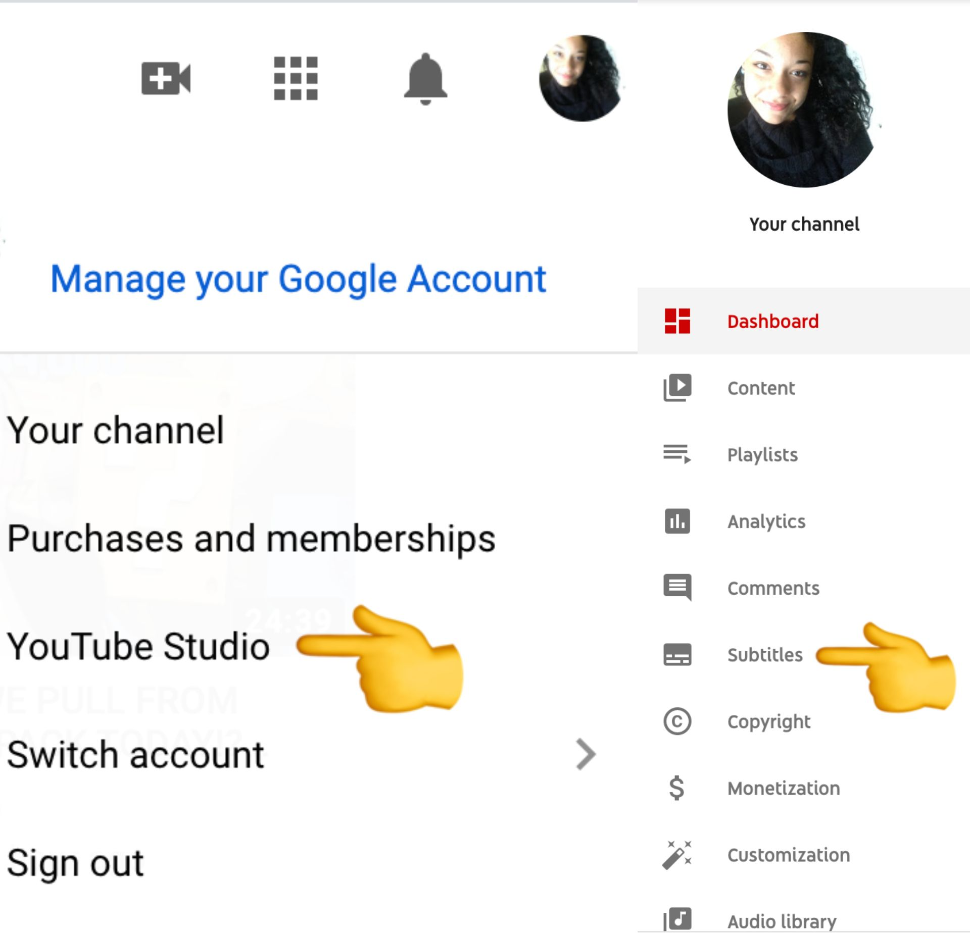screenshot of the YouTube Studio with an emoji pointing to the word subtitles