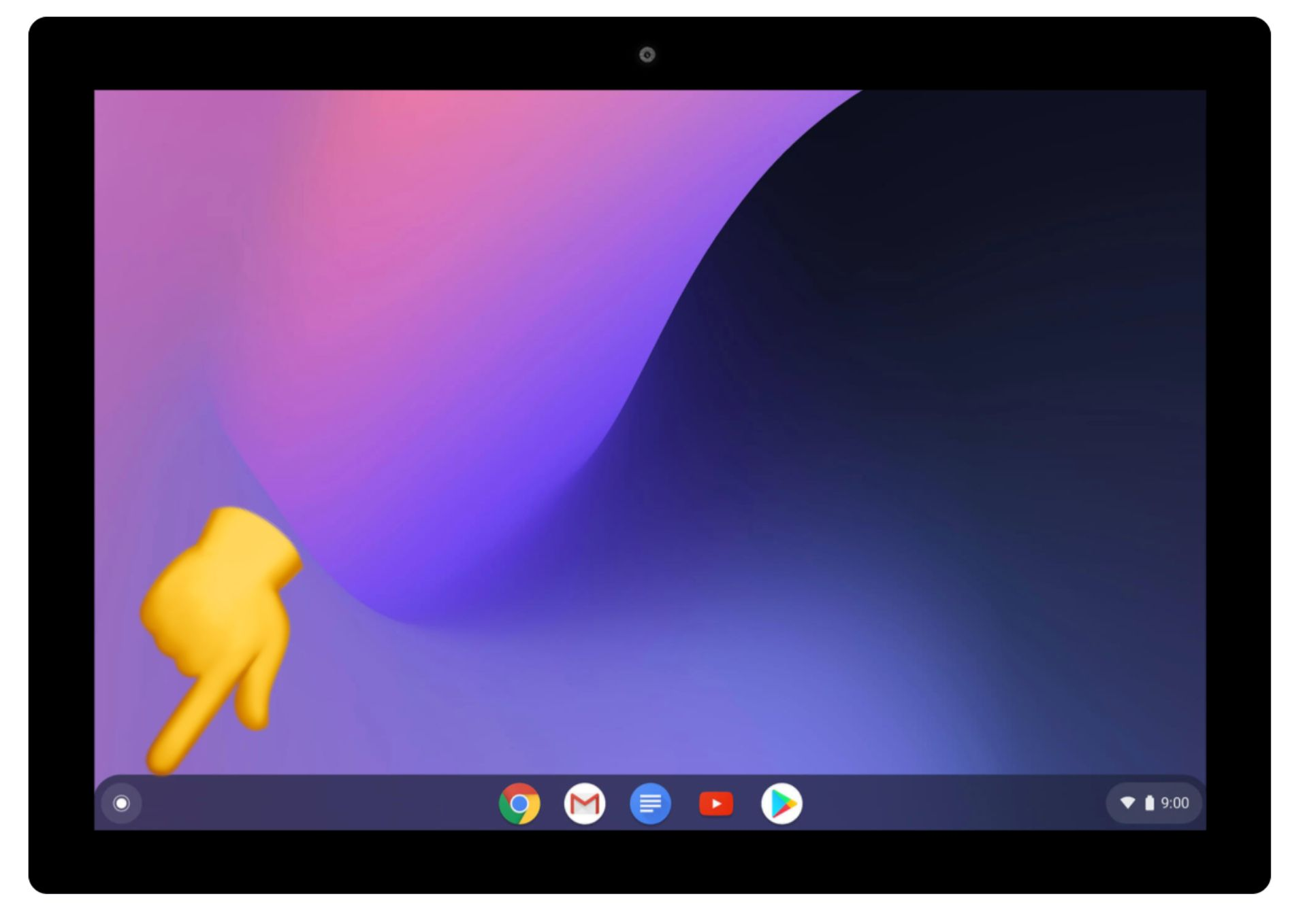 screenshot of a Chromebook screen with a finger pointing to the launcher icon