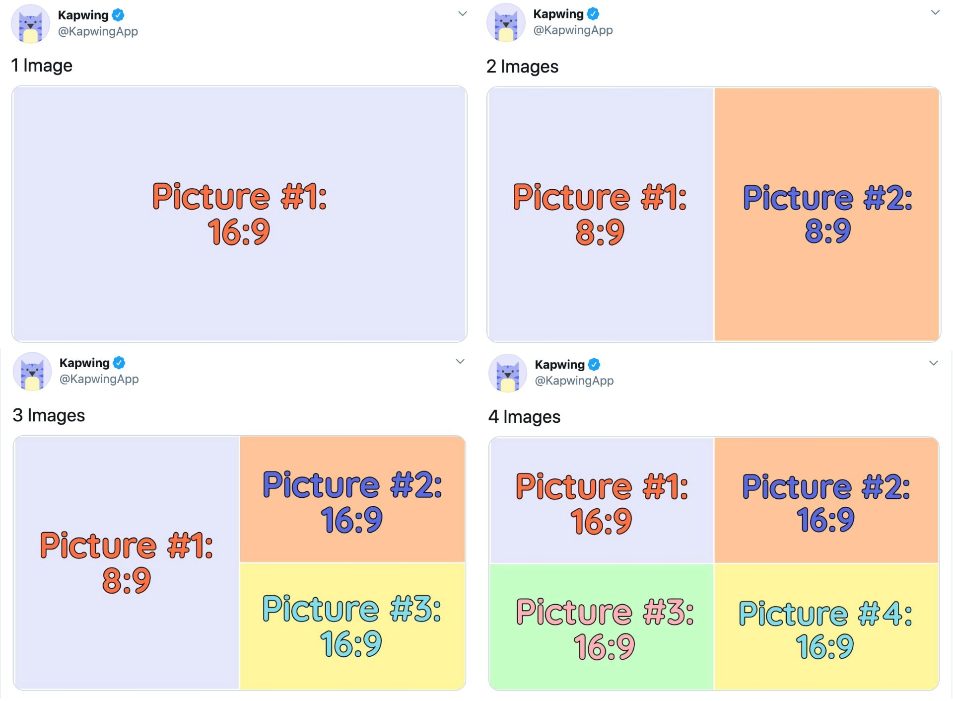 A set of screenshots demonstrating the crop sizes for Tweets with multiple photos.