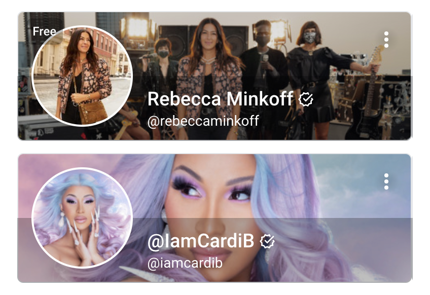 Examples of OnlyFans profile pictures from Rebecca Minkoff and Cardi B.