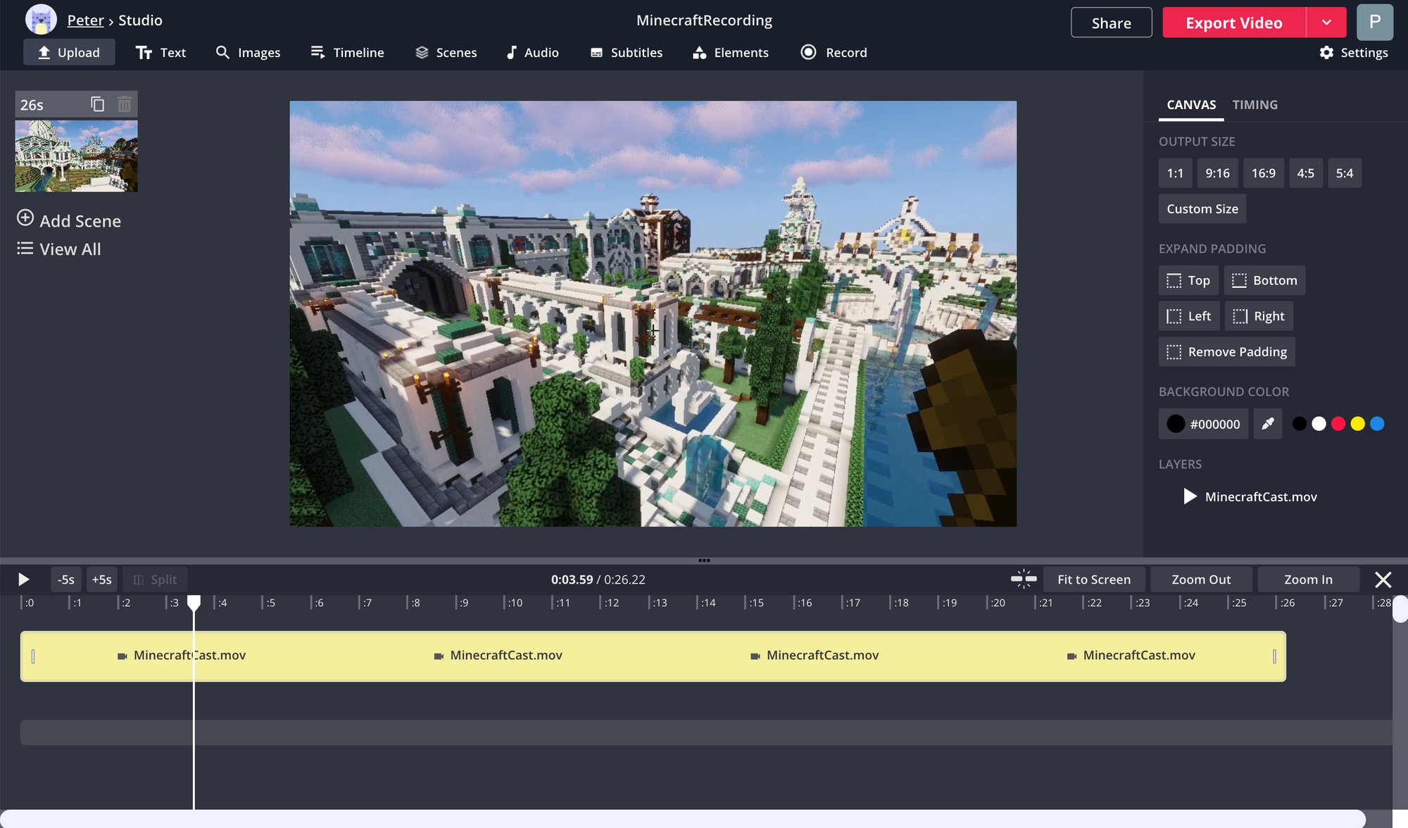 A screenshot showing a Minecraft recording in the Kapwing Studio.