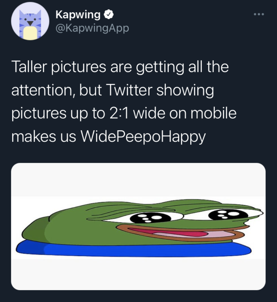 A screenshot of a Tweet using the WidePeepoHappy emote to demonstrate Twitter's new crop rule for wide pictures.