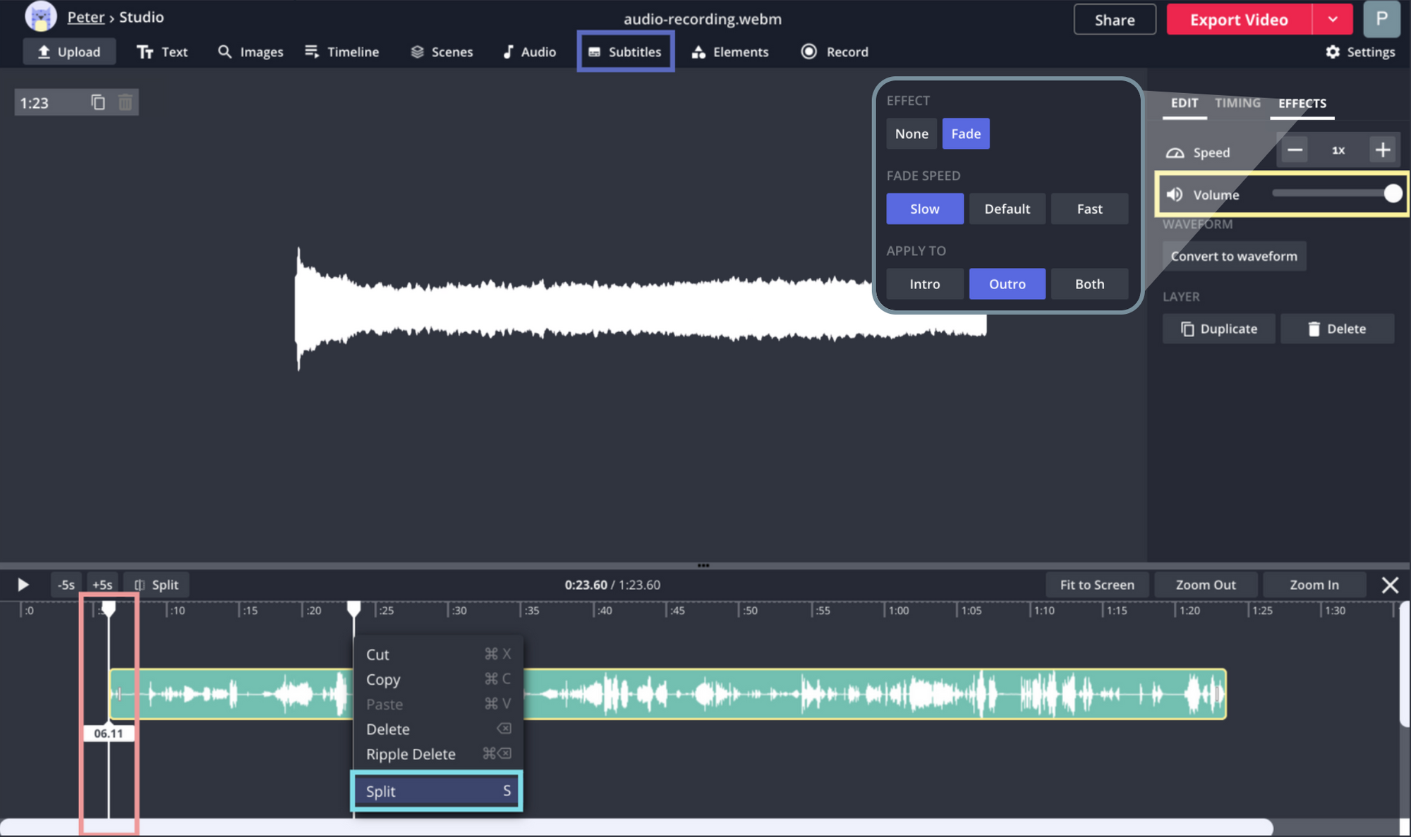 A screenshot showing multiple audio editing options in the Kapwing Studio.