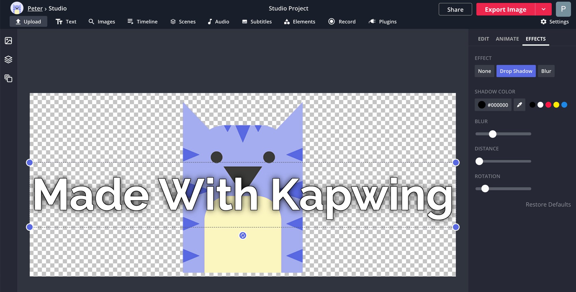A screenshot showing how to add text in the Kapwing Studio.