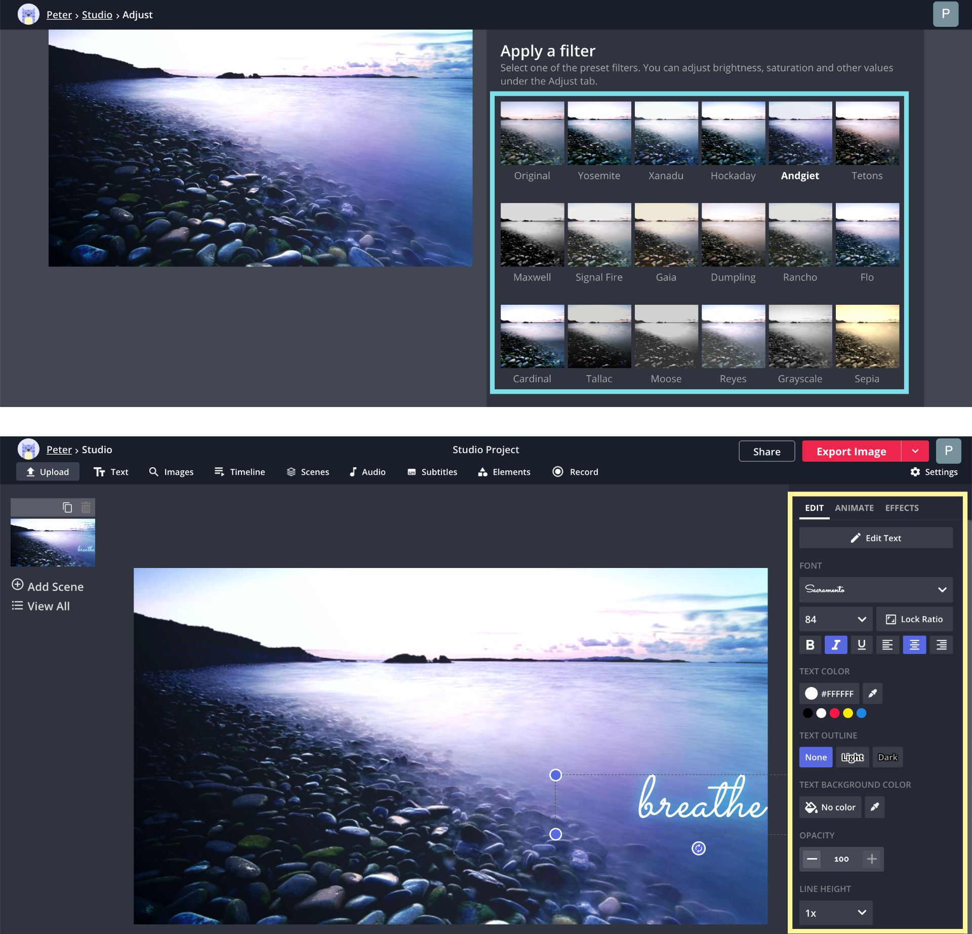 Screenshots showing how to add filters and custom text to a wallpaper image in the Kapwing Studio.