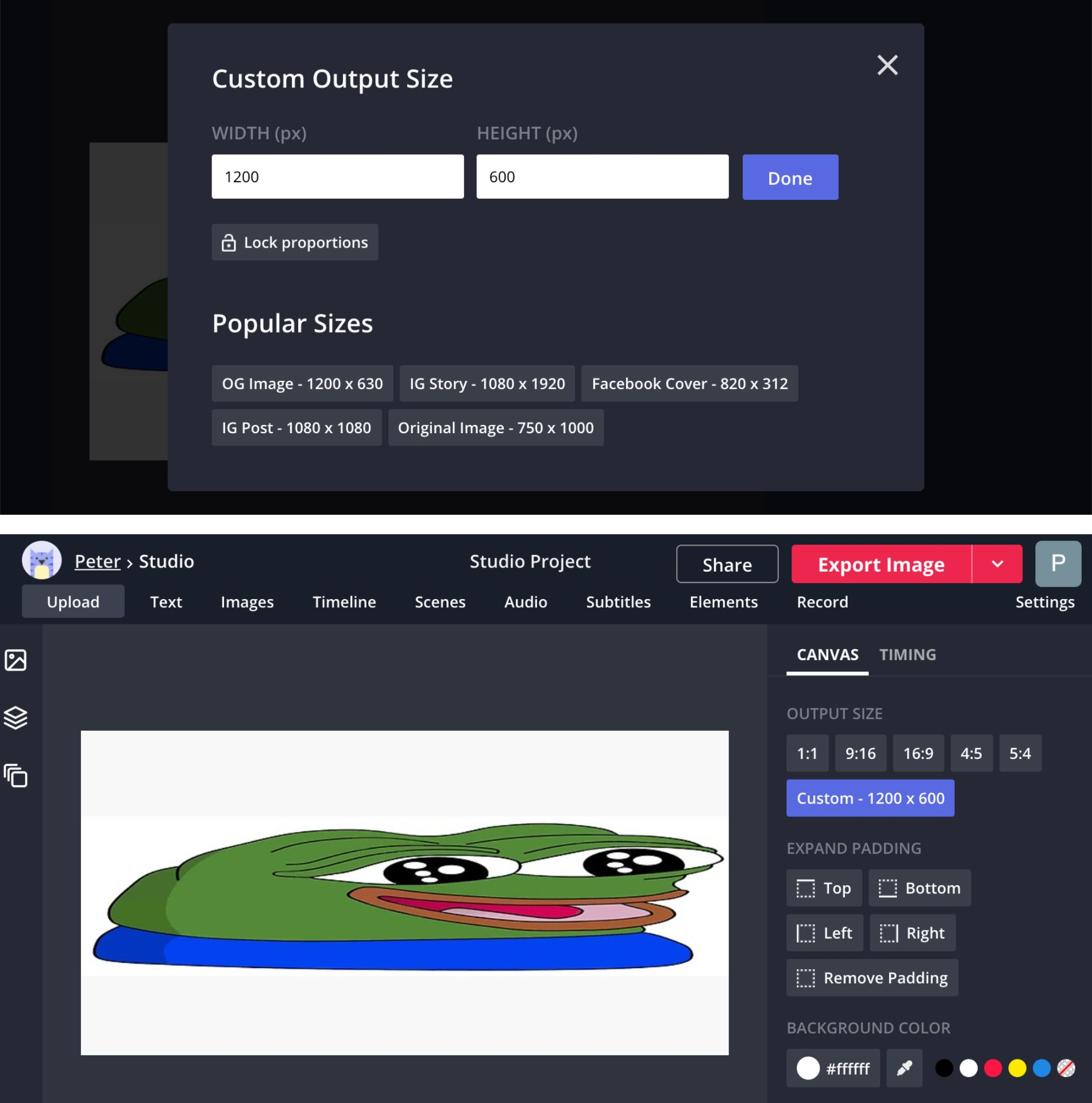 Screenshots demonstrating how to resize images to 2:1 in the Kapwing Studio.