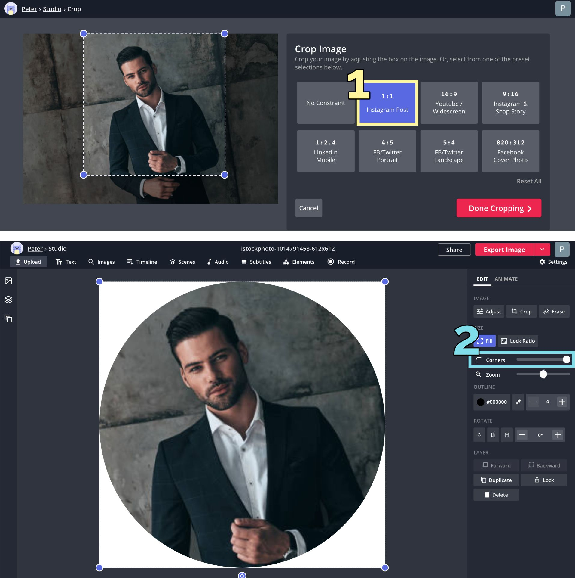 Screenshots showing how to crop an image to a circle in the Kapwing Studio.