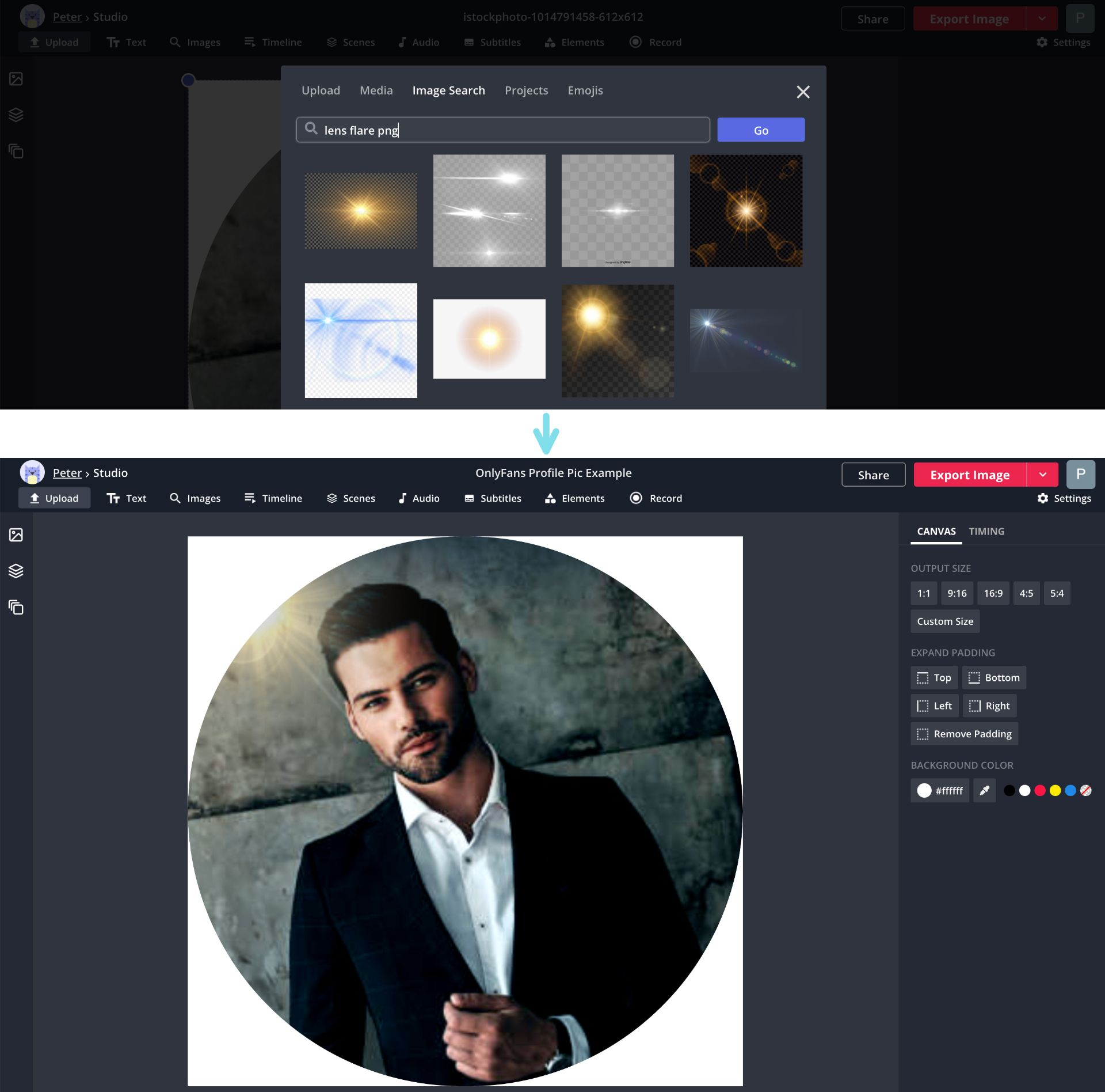 Screenshots showing how to apply visual effects to an image in the Kapwing Studio.