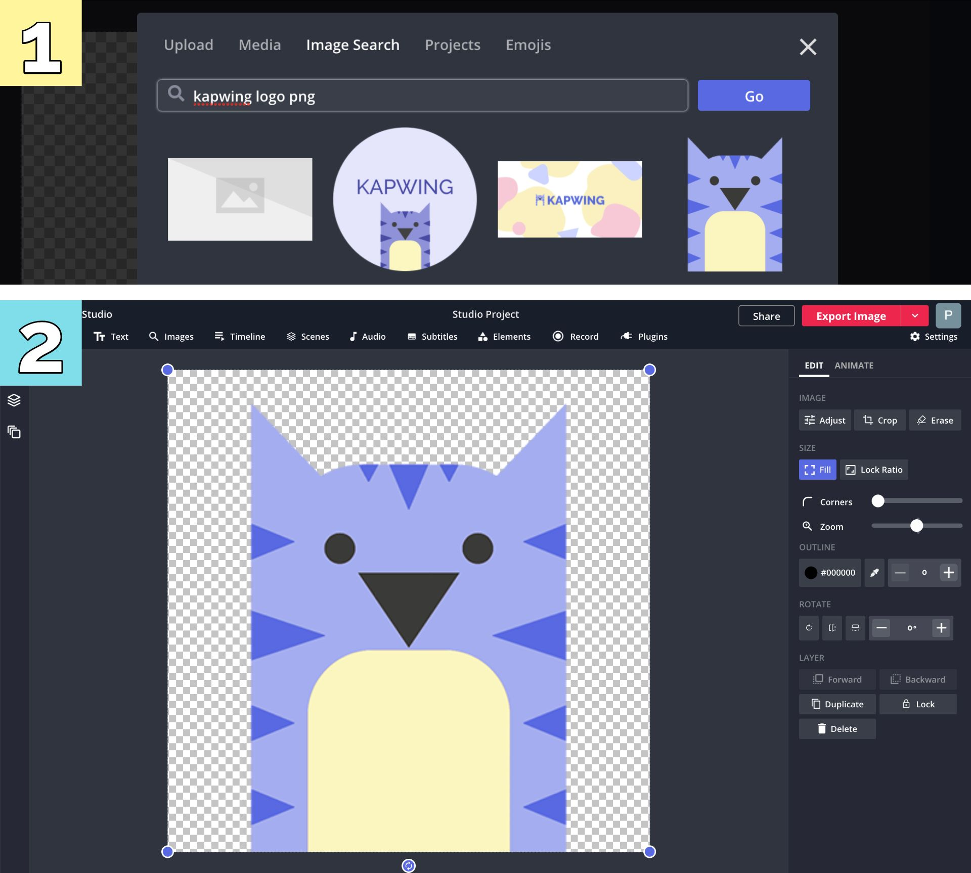 Screenshots showing how to remove the background from an image in the Kapwing Studio.