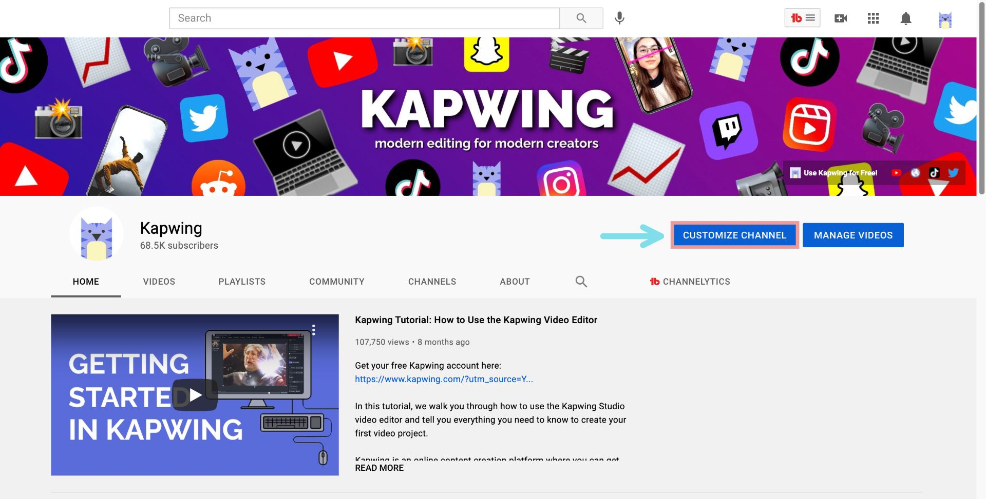 A screenshot showing how to customize a YouTube channel's branding.