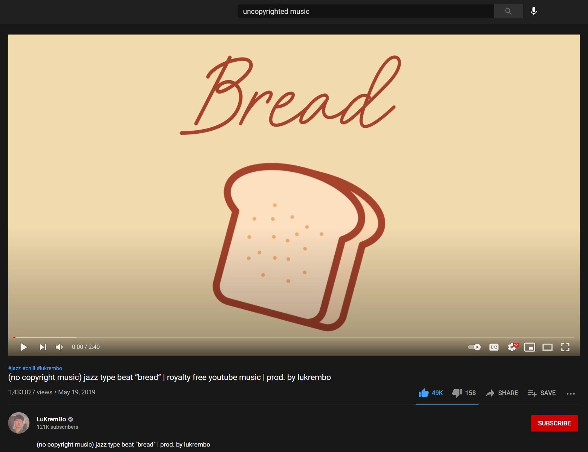 Screenshot of Bread by Lukrembo