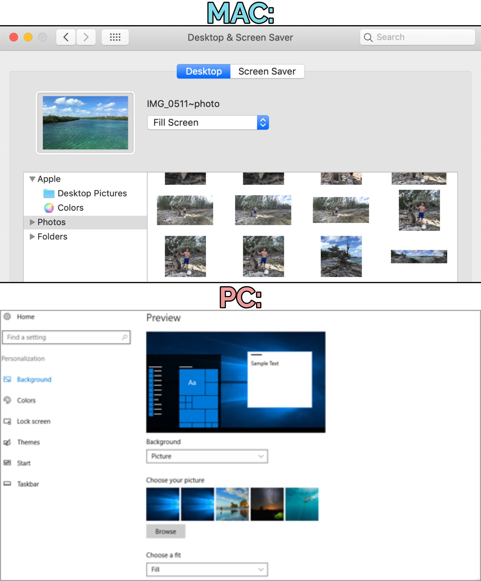 Screenshots demonstrating how to update desktop wallpaper images on Mac and PC computers.