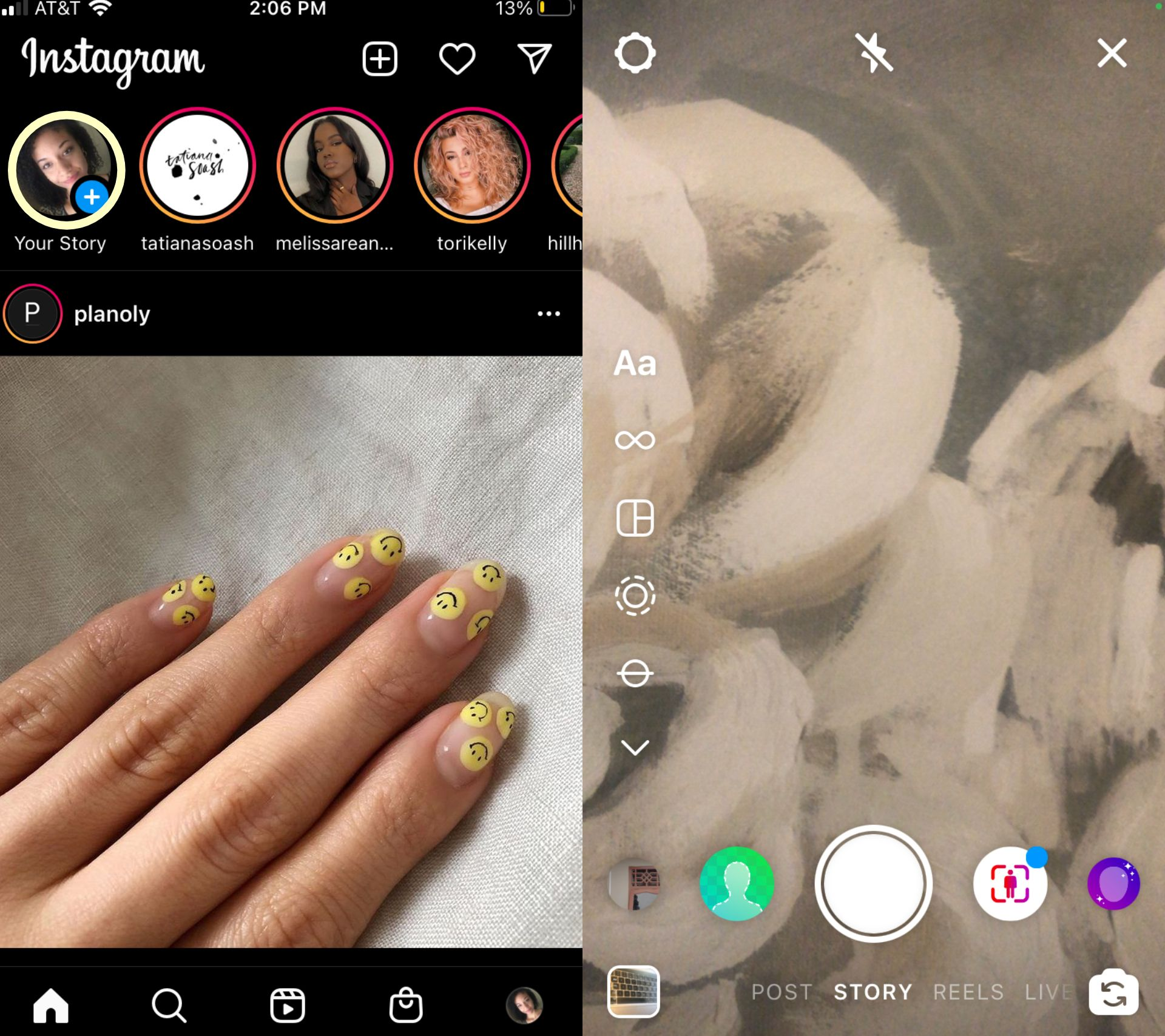 two screenshots showing how to open Instagram Story