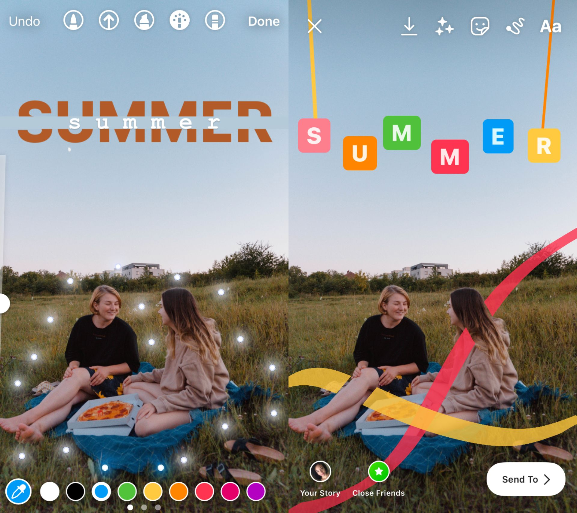 two screenshots showing how to use the brush tool on Instagram Story