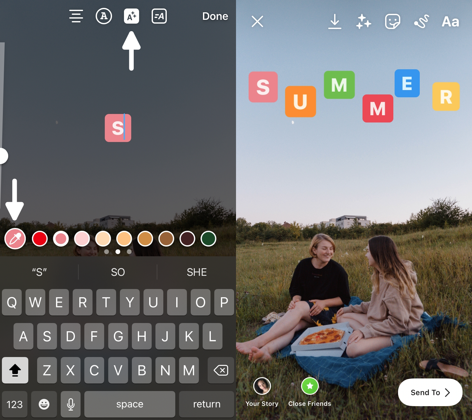 screenshots showing how to add text with a background color to Instagram Story