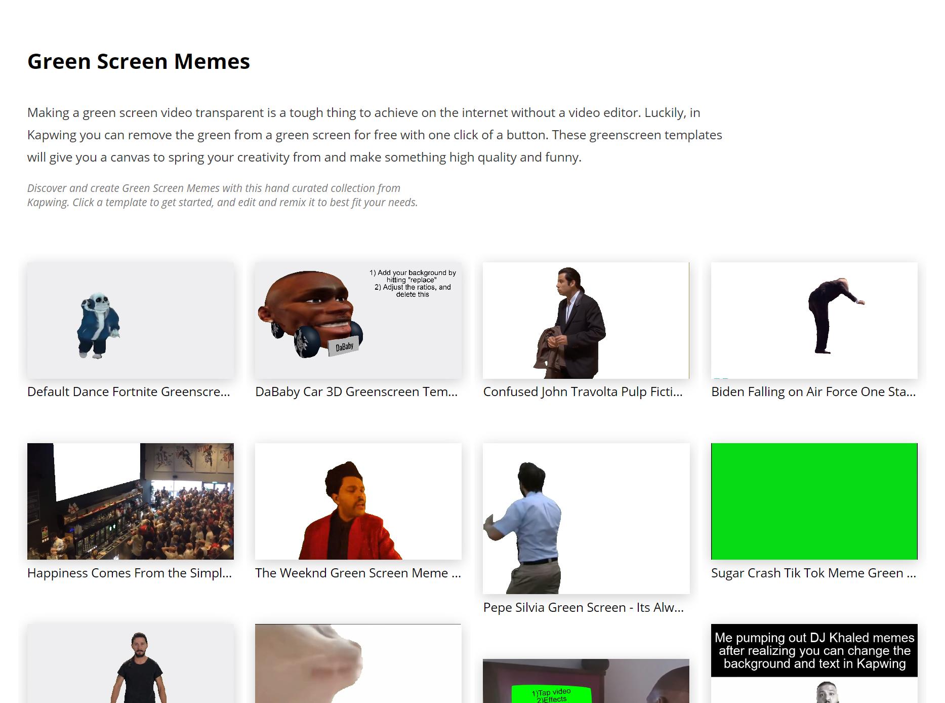 Kapwing's Green Screen Meme Collection
