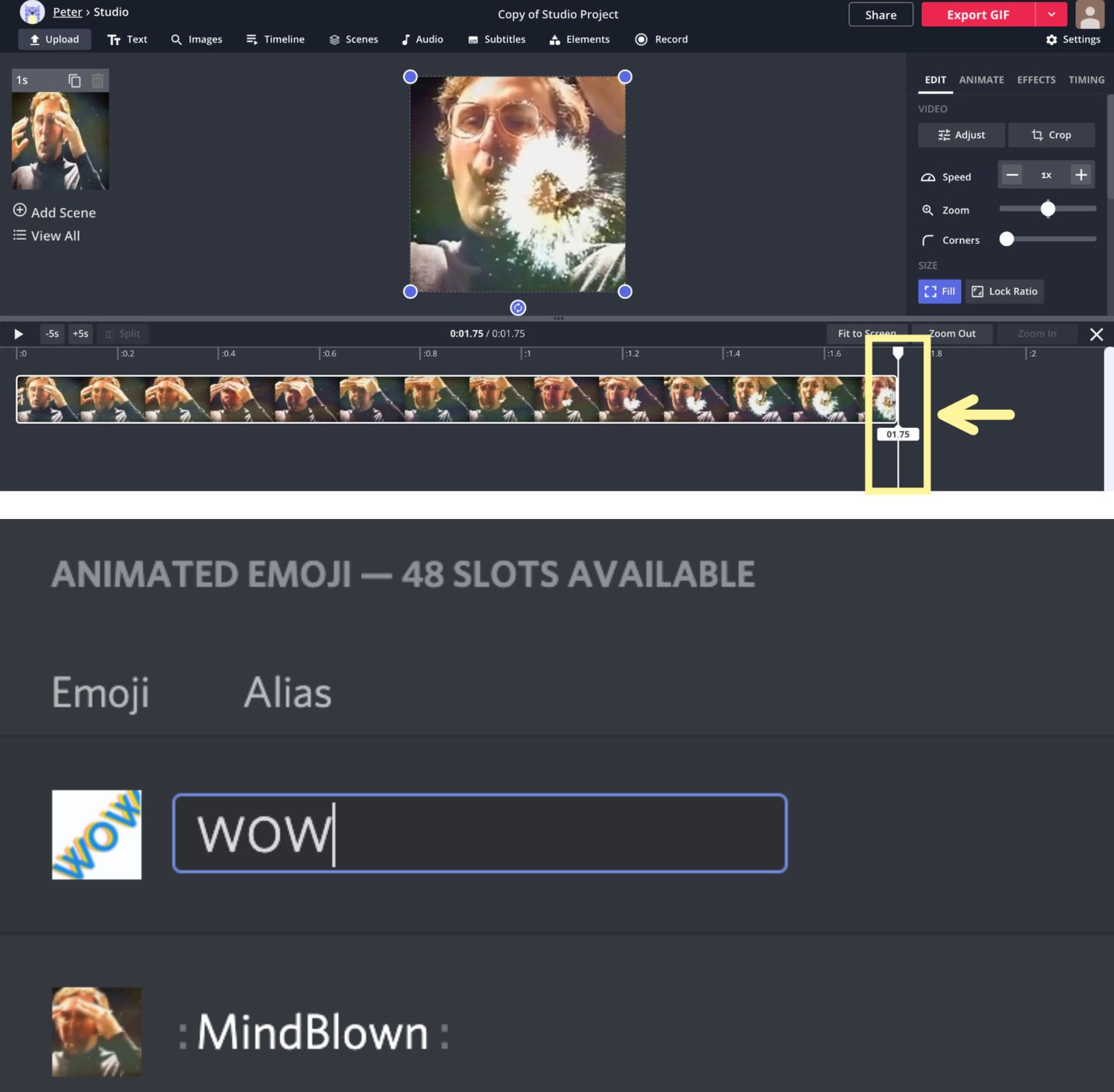 Screenshots showing how to create an animated GIF emoji in Kapwing and add it to a Discord server.
