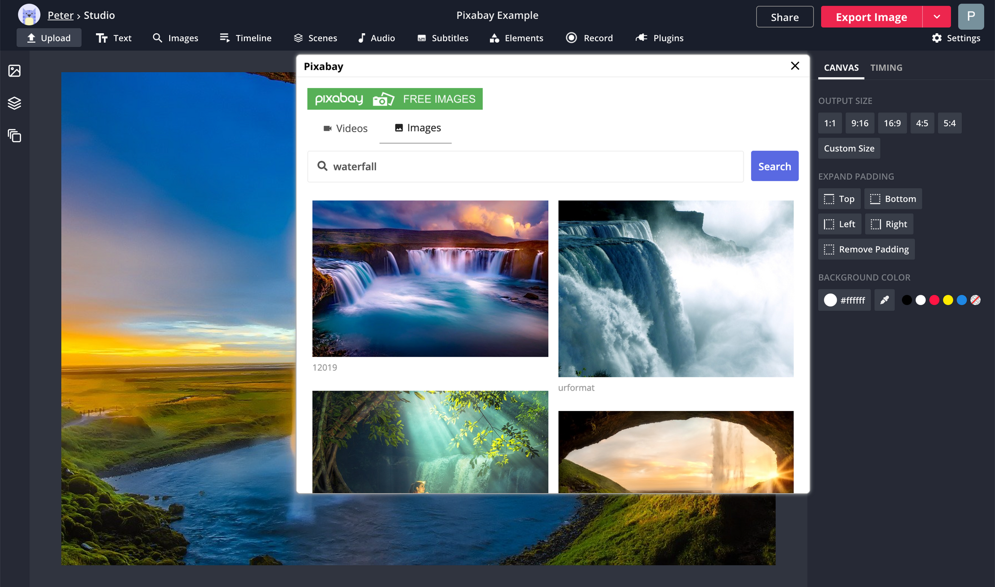 A screenshot showing how to use the Pixabay plugin in the Kapwing Studio.
