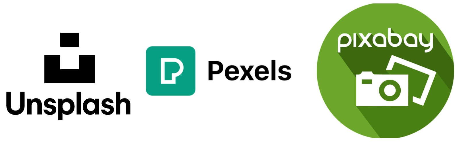 The logos for Unsplash, Pexels, and Pixabay.