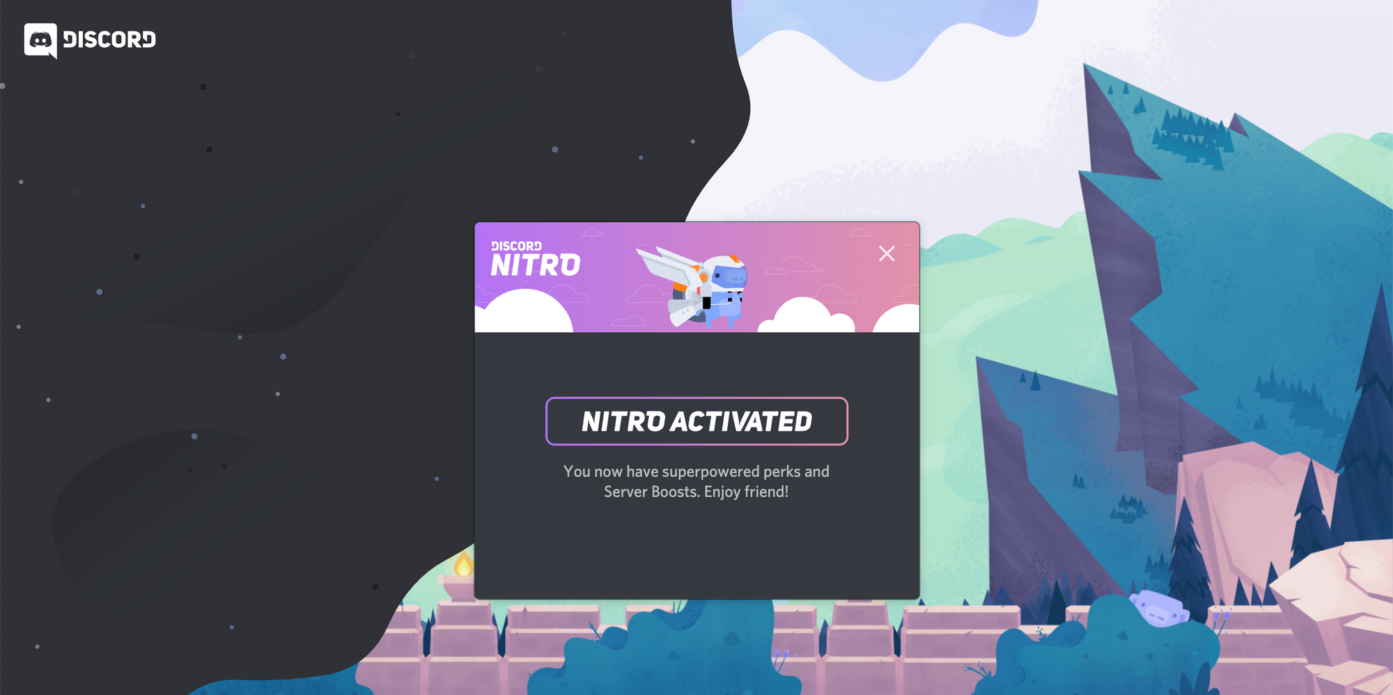 A screenshot of the page displayed when Discord Nitro is activated.