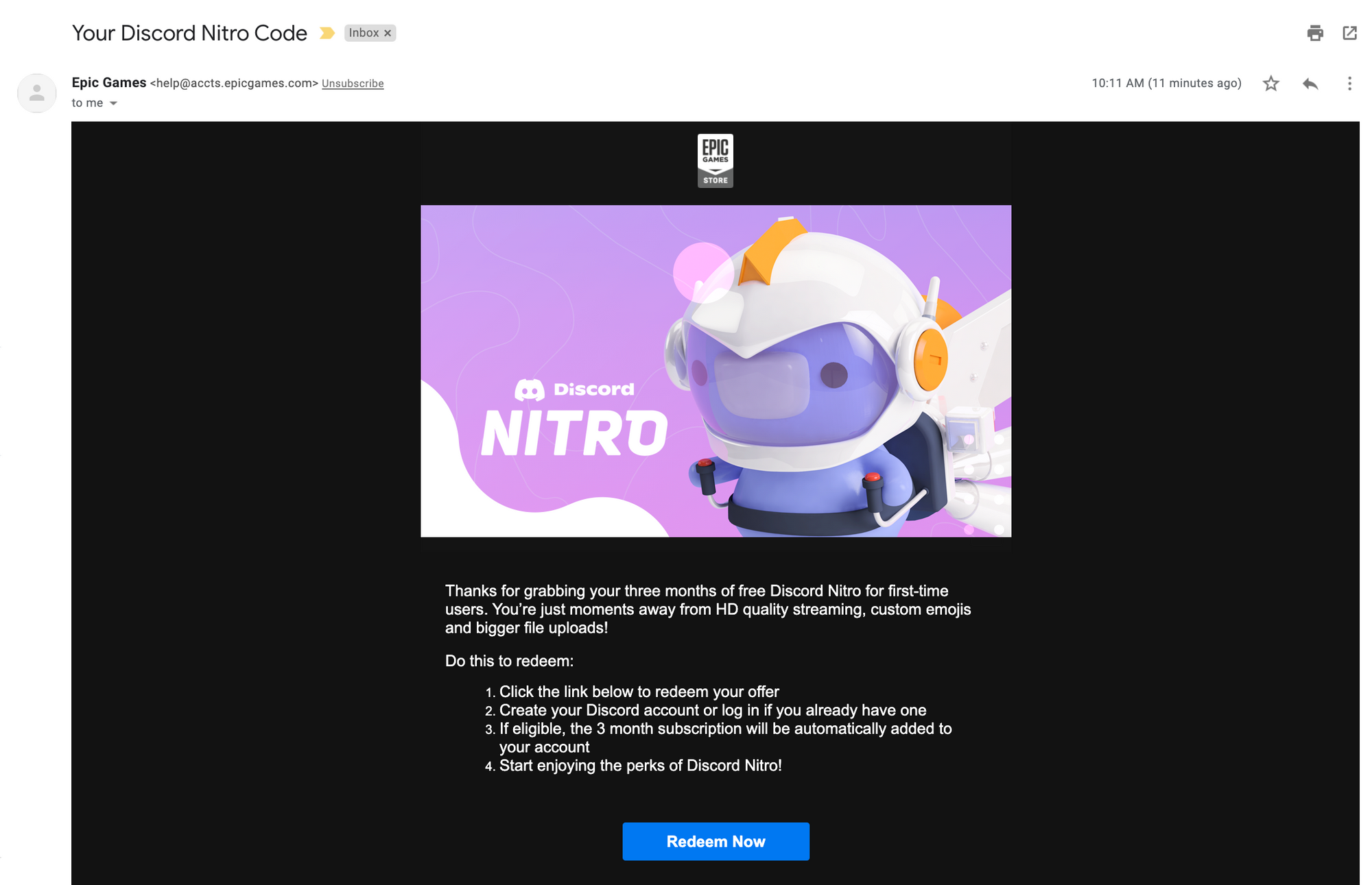 A screenshot of the email offer for free Discord Nitro.