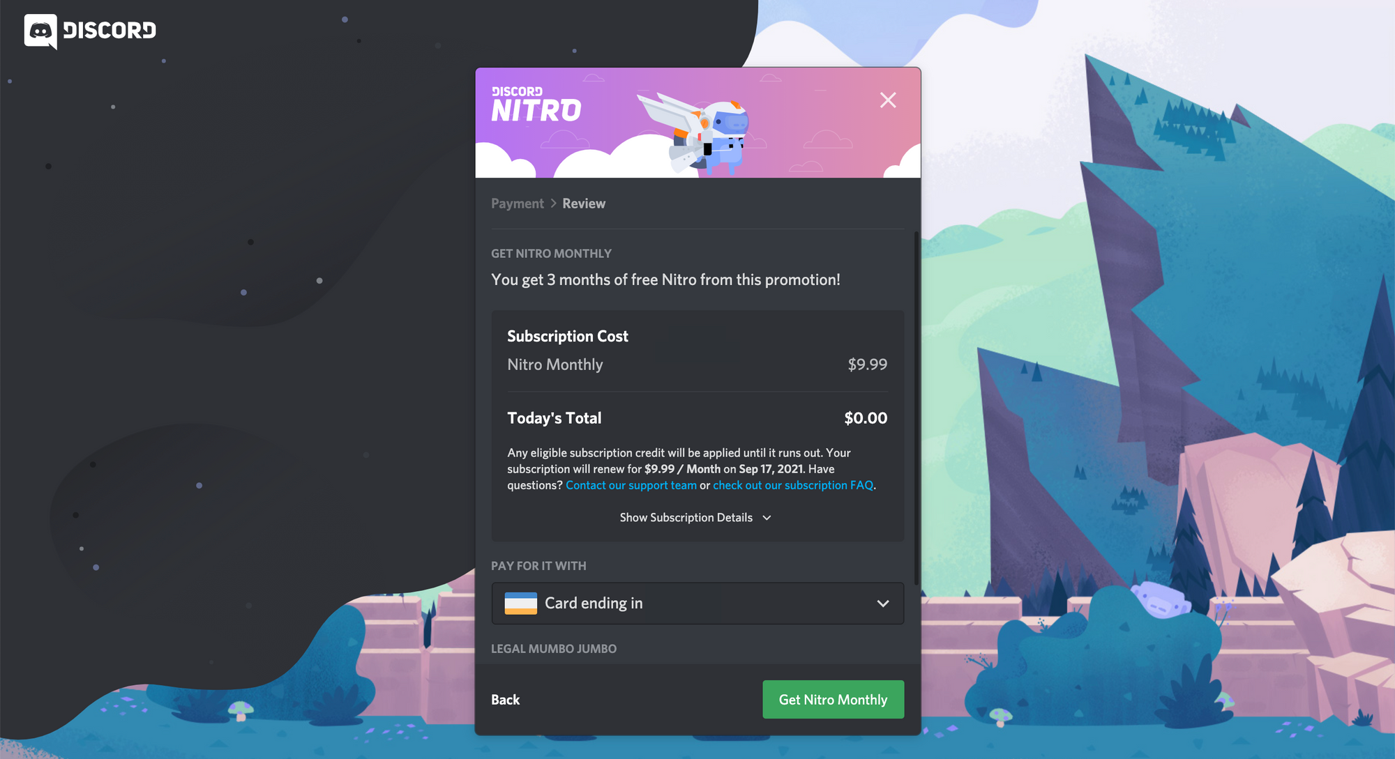 A screenshot of the payment information page required to get free Discord Nitro.