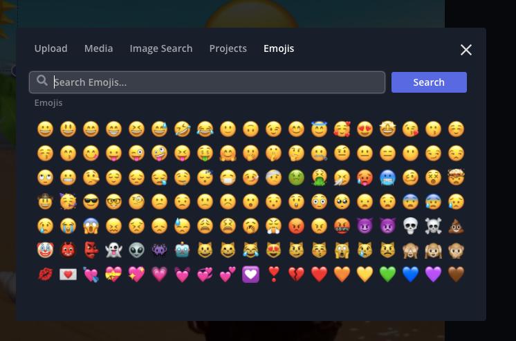 Emoji import modal in Kapwing