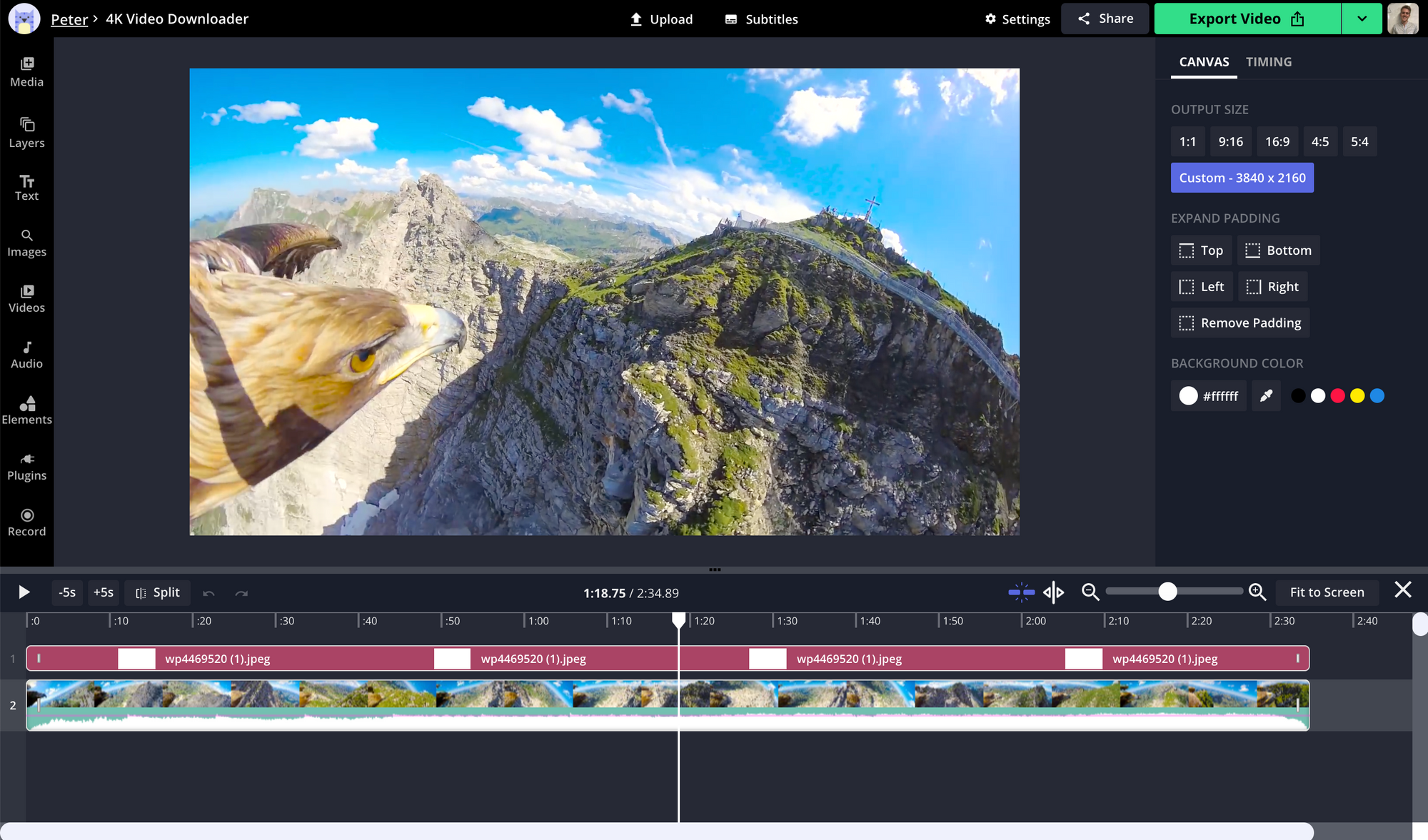 A screenshot of a 4K video being edited in the Kapwing Studio.