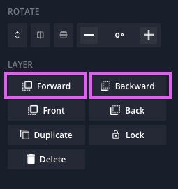 A screenshot of the layer arrangement buttons in the Kapwing studio.