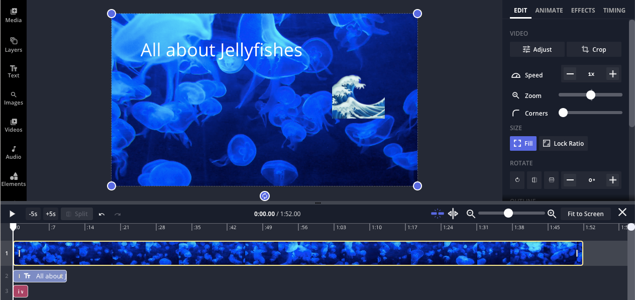 An image of the Kapwing studio, showing the timeline at the bottom with a video about jellyfishes.