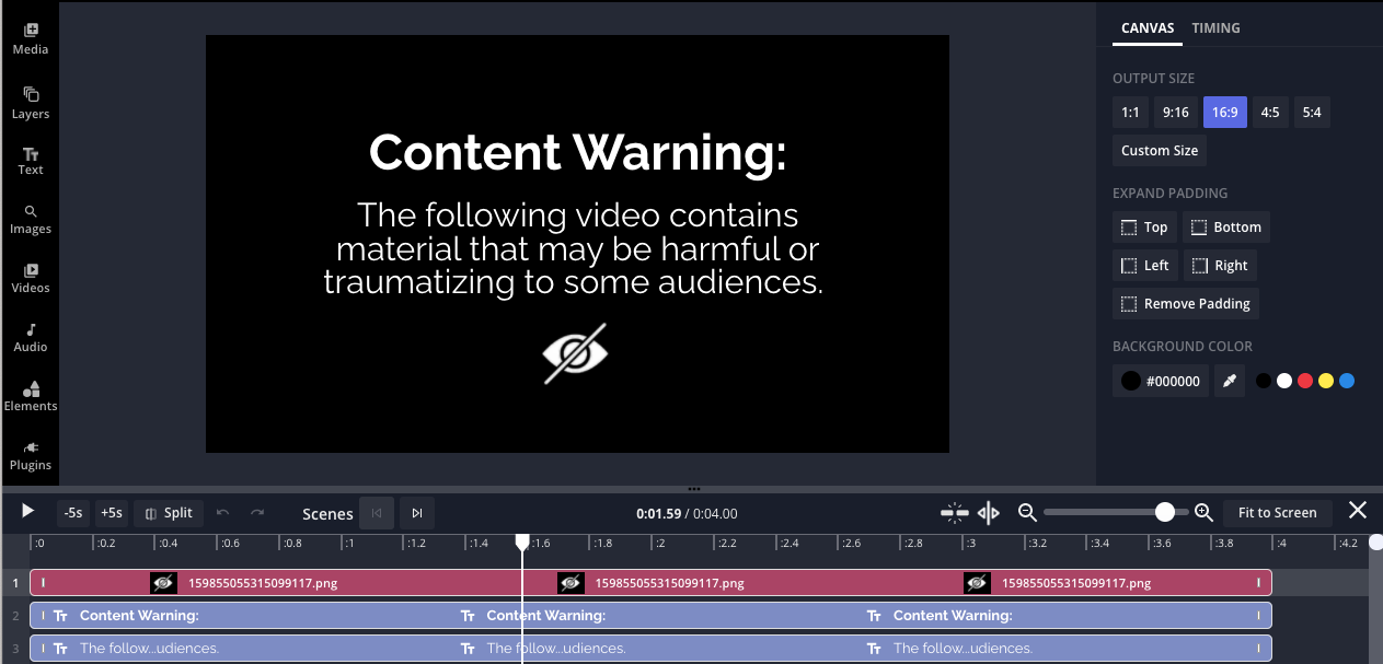 The content warning template in the Kapwing studio.