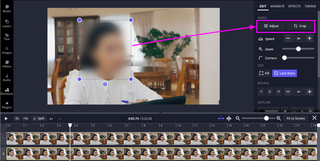 """A blurred stock video in the Kapwing timeline. There is an arrow pointing to the """"Adjust"""" and """"Crop"""" buttons."""